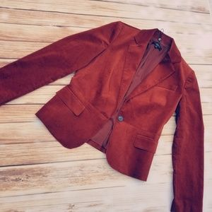 Talbots burnt orange sienna velour blazer sz. 8